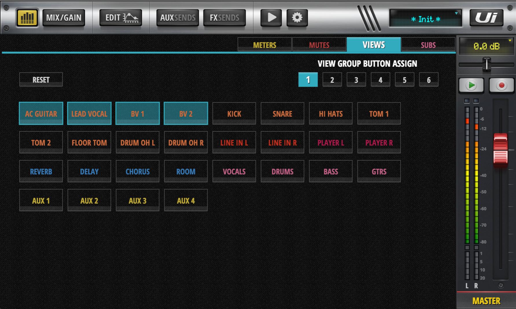 Série Soundcraft UI umožňuje až 6 různých zobrazen